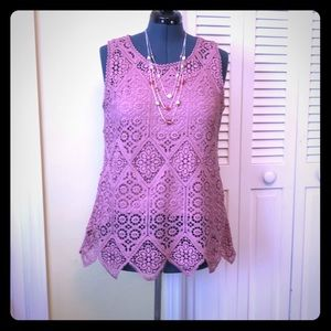 Beautiful Mauve crochet top with built in tank XL